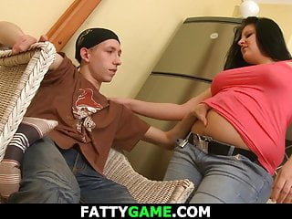 Fat babe picks up skinny lad from the street
