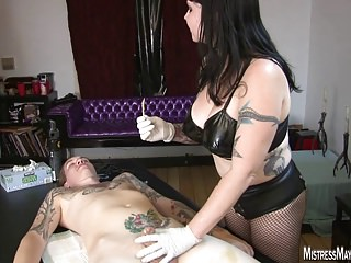 Mistress Maya figs a slave cock