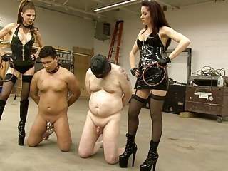 Two Doms Whip Their Slaves