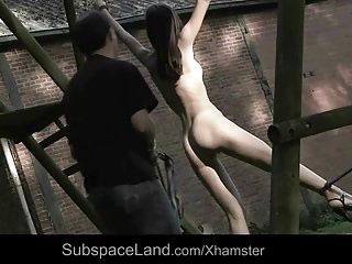 Sexy skinny slave bound and used for bondage pleasures