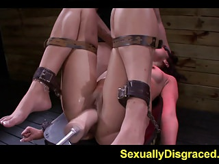 Bound slave Ava Kelly hooked on fuck machine and deepthroate