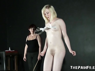 Submissive Satines spanking and lesbian bdsm by dominant Nim