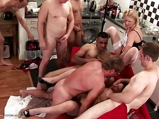 Mature mom squirts hard during gangbang with young boys