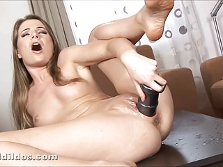 Hot blonde big dildo squirting in HD