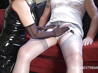 Frilly Crossdressing Handjob