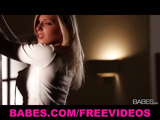 Babes - Sexy busty blond strips & masturbates to solo orgasm