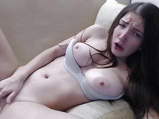 Teen brunette masturbates with vibrator in her ass