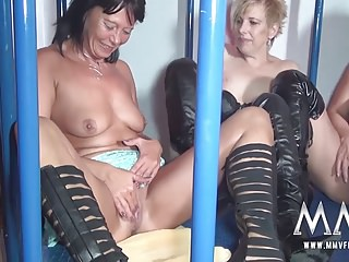 MMV FILMS Amateur German Teen and Mature Caged Lesbians