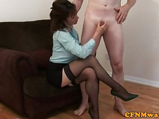 CFNM femdom beauty loves to jerk cock