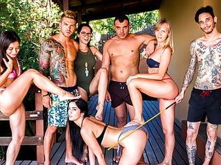 CROWD BONDAGE - Outdoor BDSM and pool sex for Loren Minardi