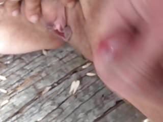 Public cum all over her pussy