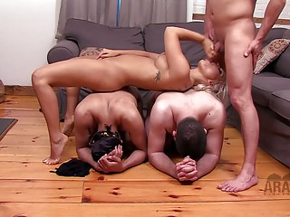 American mistress with her two cuckold Arab Slaves!