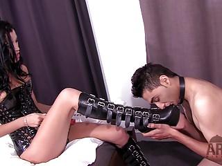 Mistress cuckold Arab Slave American stud foot worship boot