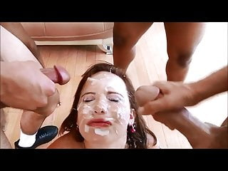 two bukake babes get faces full of cum