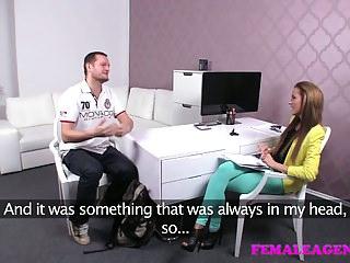 FemaleAgent Big cock delivers creampie present after casting