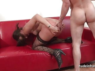 Pretty brunette babe hard anal plugged for her casting couch
