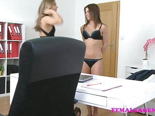 FemaleAgent Sexy lesbian orgasms during casting
