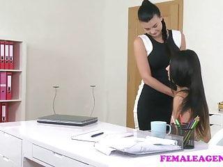 FemaleAgent Busty agent seduces shy beauty