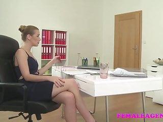 FemaleAgent Sexy agent fucks lucky cameraman fat cock