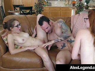 Alex Legend Cums On 4 Eyed Amarna Miller & Nickey Huntsman!