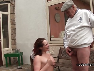 Redhead babe hard DP in a gangbang with Papy Voyeur