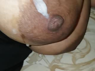Cumshot on my uk indian muslim hijabi big tits desi wife