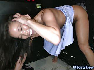 Gloryhole asian babe sucking dick