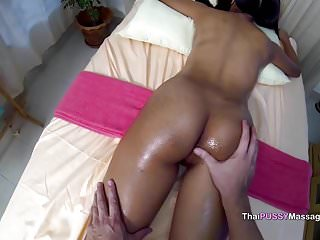Bareback cute girl after massage