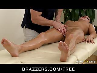 Brazzers - Stressed out brunette Nikki Daniels gets massaged