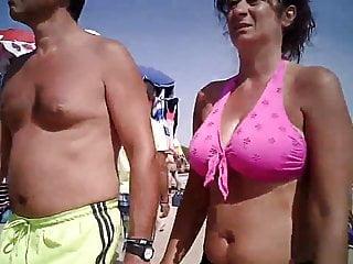 Big tits in bikini mature at beach