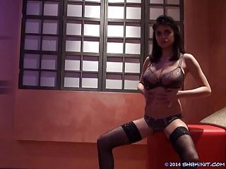 Daniela shows off the goods
