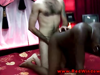 Ebony Amsterdam whore drilled by tourist