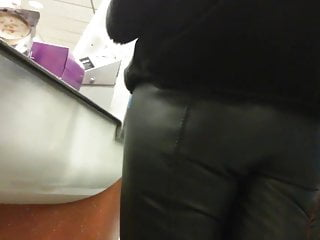 candid ass leather pants 1