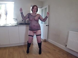 Redhead Wife Dancing in Bodystocking