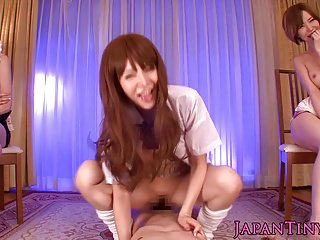 Japanese Yuria Satomi pov cock riding with friends