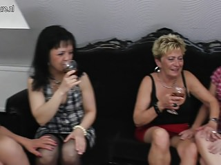 Four old and young lesbians group sex