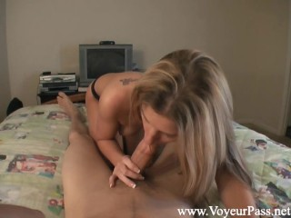 Amazing fitness blonde makes him cum over and over - POV