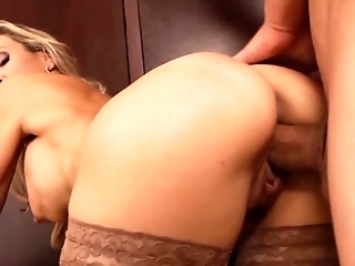 Gorgeous blonde MILF teacher shows tight body
