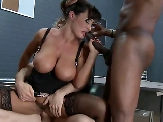 Super hot brunette MILF teacher fucks three big cocks