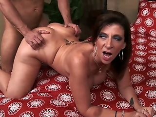 Chubby brunette mommy with big boobs Sara Jay loves doggy style