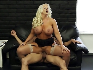 Blonde bombshell wearing stockings Alura Jenson rides hard cock