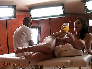Divine bombshell with big silicone boobs Aletta Ocean behind the scenes