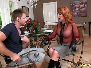 Redhead horny busty woman wants to suck and fuck a young man