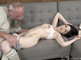 Grey haired old pervert fucks pussy of Hungarian pretty hottie Mia Evans