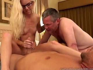 Halle Von and Her Husband Take Turns Sucking Dick