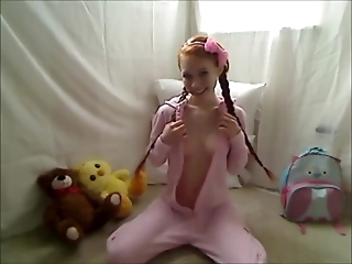 Teen in PJs and socks gets off